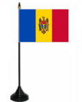 Moldova Desk / Table Flag with plastic stand and base.
